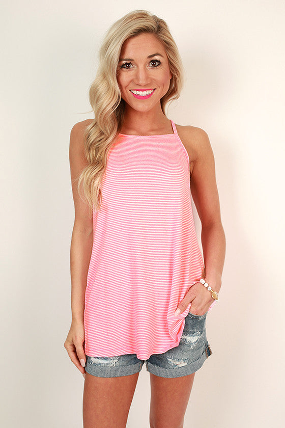 Huntington Beach Stripe Tank in Neon Pink