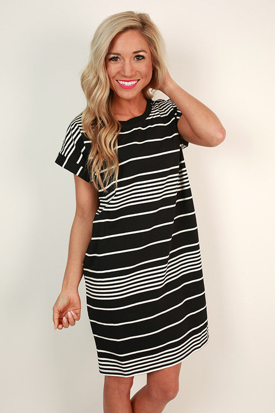 Sweetheart In Stripes T-shirt Dress in Black