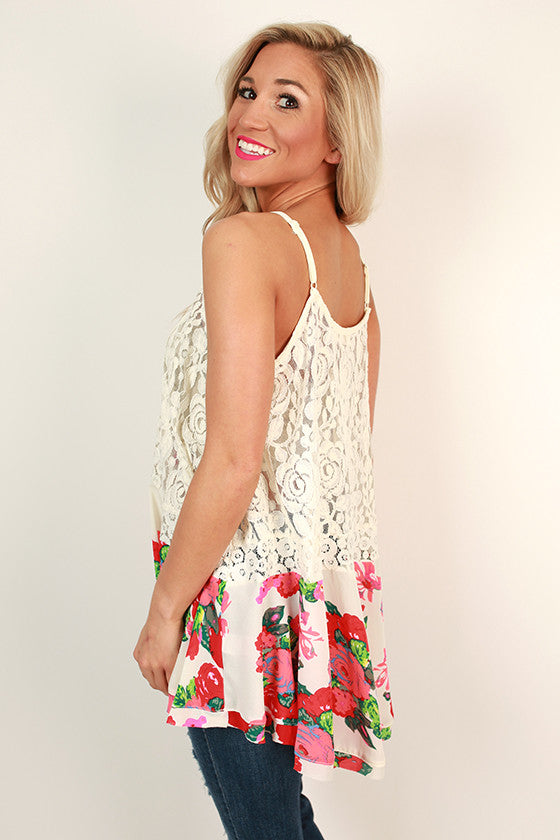 Flattering in Chiffon Floral Lace Tank in Ivory