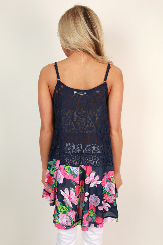 Flattering in Chiffon Floral Lace Tank in Navy