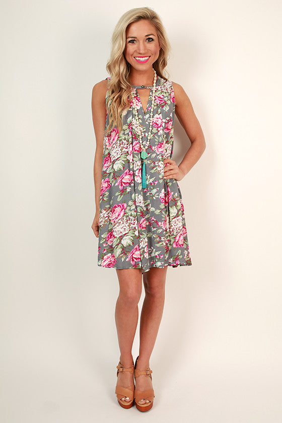 Garden of Goodness Floral Shift Dress in Grey