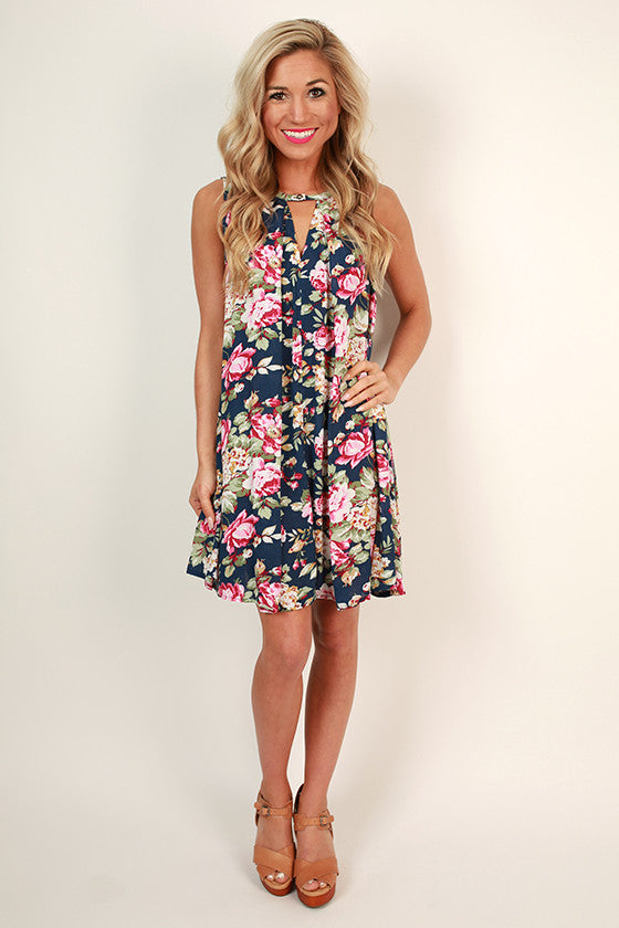 Garden of Goodness Floral Shift Dress in Navy