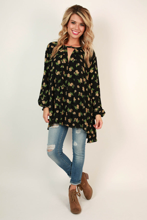 Meet Me In The Meadow Floral Shift Tunic in Black