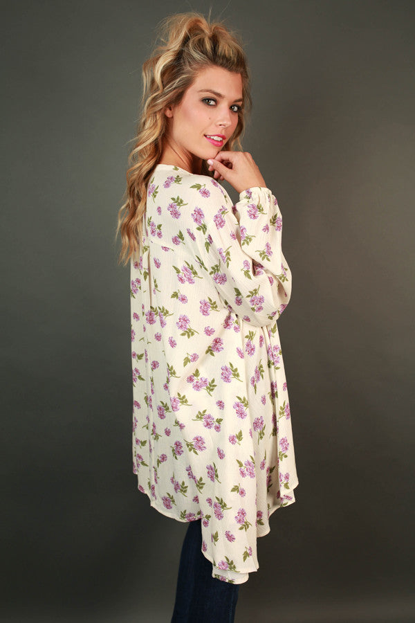 Meet Me In The Meadow Floral Shift Tunic in Cream