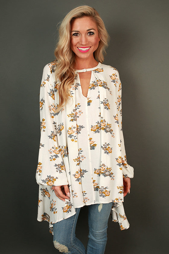 Meet Me In The Meadow Floral Shift Tunic in White