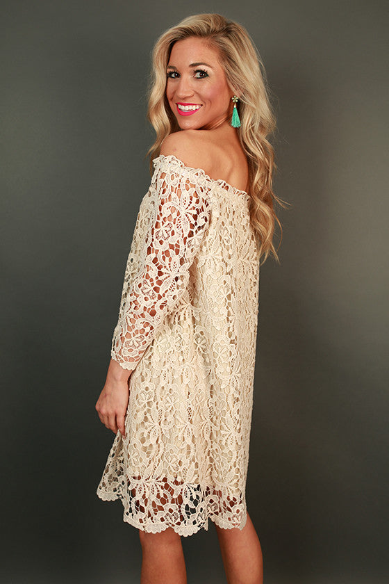 Bubbly Brunch Lace Off Shoulder Dress in Stone