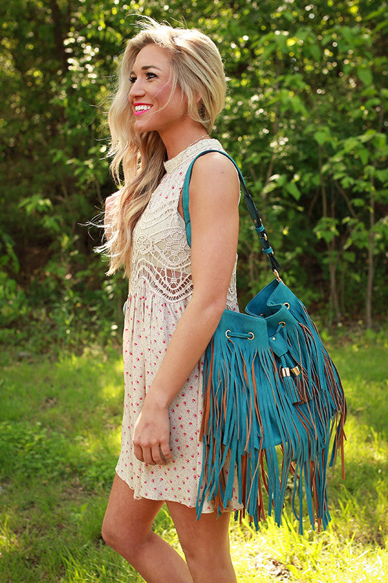 Gorgeous Companion Fringe Bag in Teal