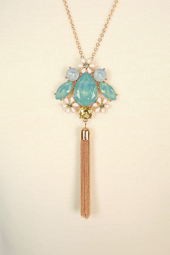 Endless Glam Crystal Necklace in Ocean Wave