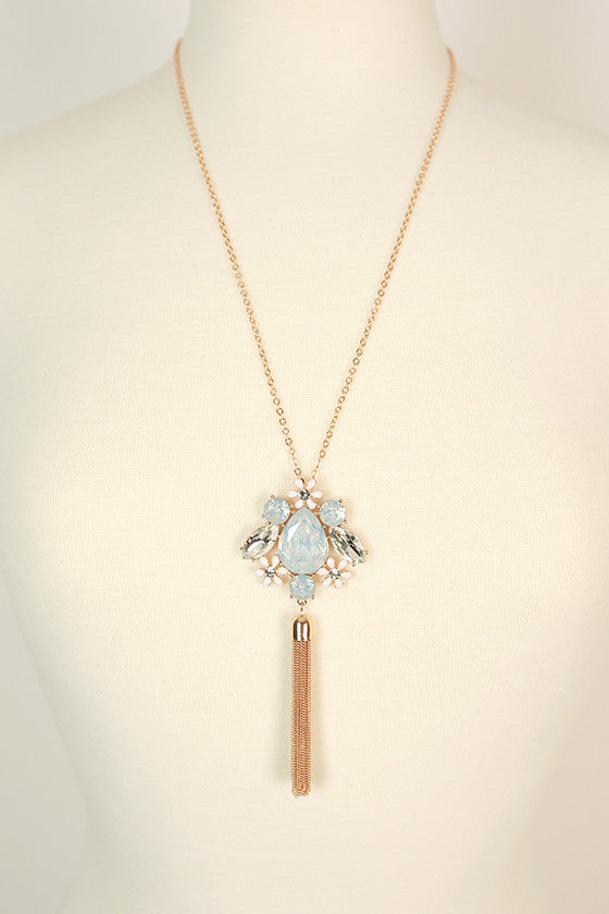 Endless Glam Crystal Necklace in Light Limpet Shell