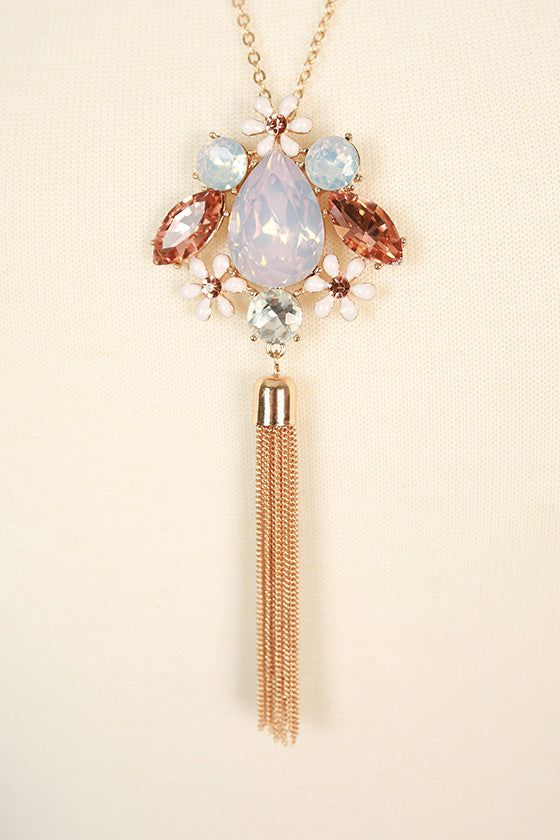 Endless Glam Crystal Necklace in Baby Pink