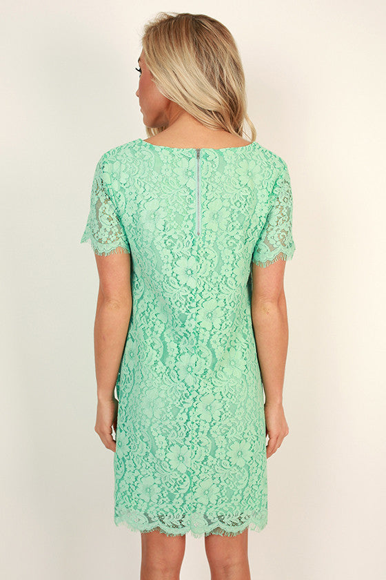 Forever Chic Lace Shift Dress in Mint