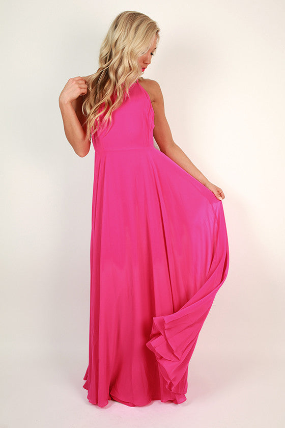 Fallin' in Love Maxi Dress in Hot Pink