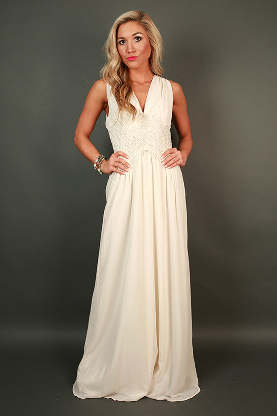 Maldives Dreaming Maxi Dress in Cream