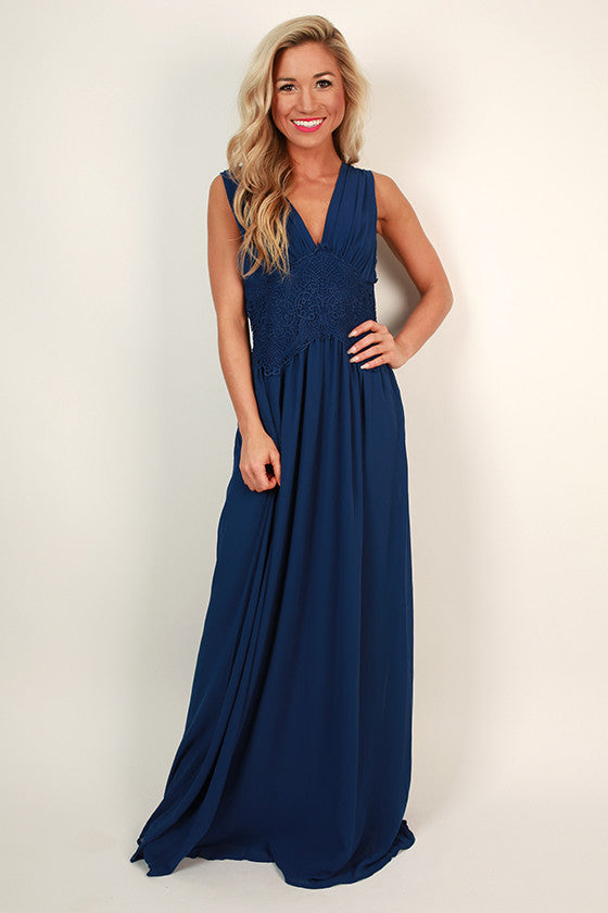 Maldives Dreaming Maxi Dress in Cobalt Blue