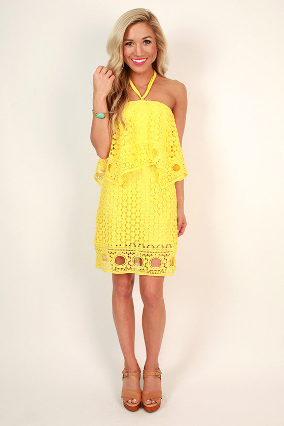 Swoon About It Lace Mini Dress in Buttercup
