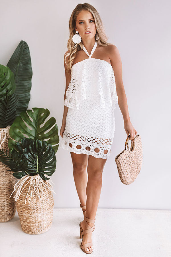Swoon About It Crochet Dress in White