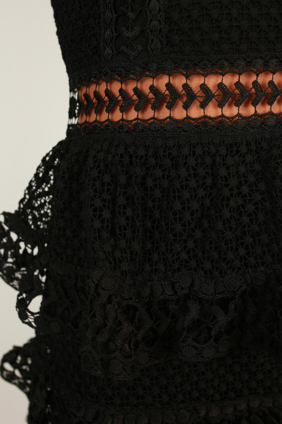 Stylish Standout Lace Mini Dress in Black