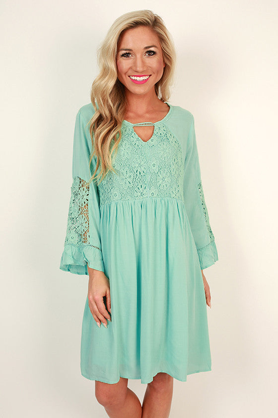 She's a Stunner Babydoll Dress in Aqua