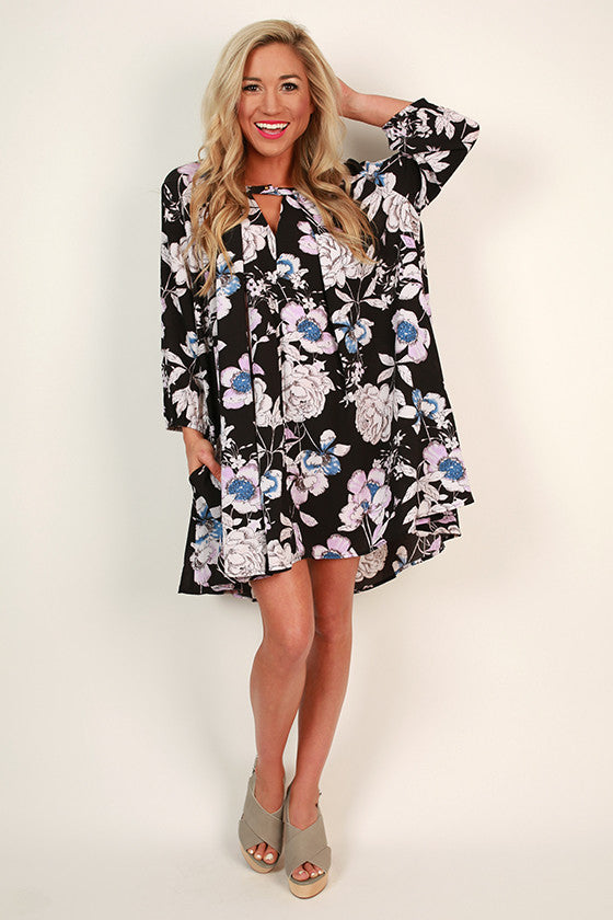Beauty In The Garden Floral Shift Dress in Black