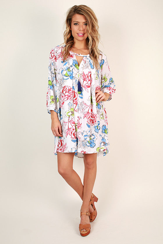 Beauty In The Garden Floral Shift Dress in White