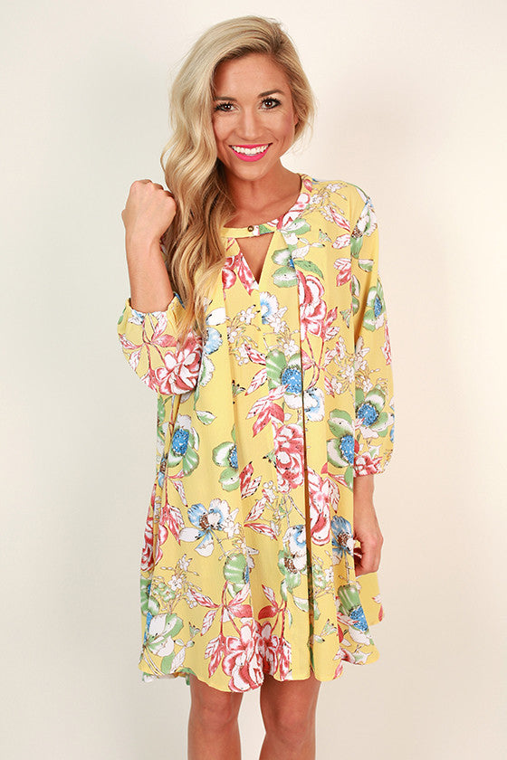 Beauty In The Garden Floral Shift Dress in Buttercup