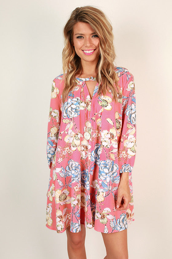 Beauty In The Garden Floral Shift Dress in Pink