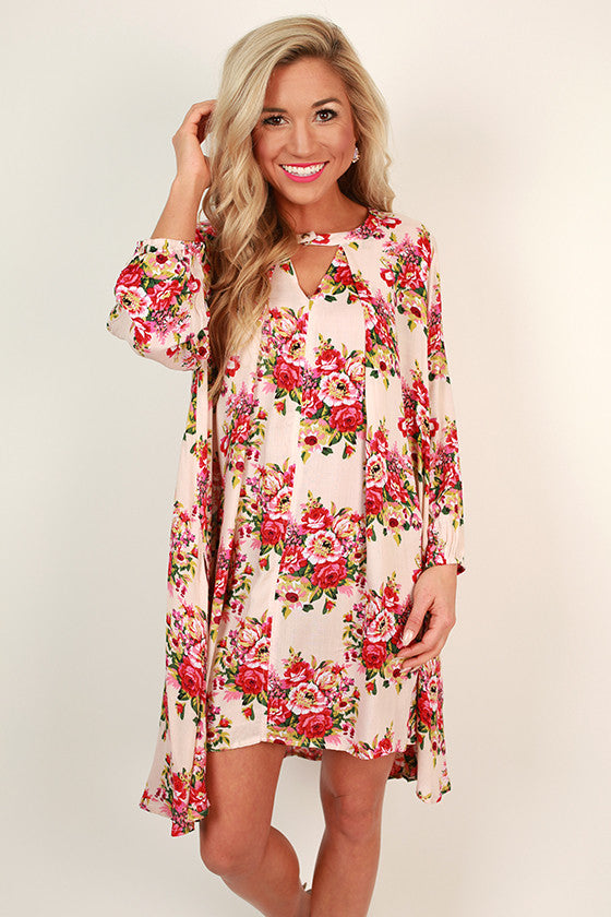 Pocket Full of Petals Floral Shift Dress in Nude