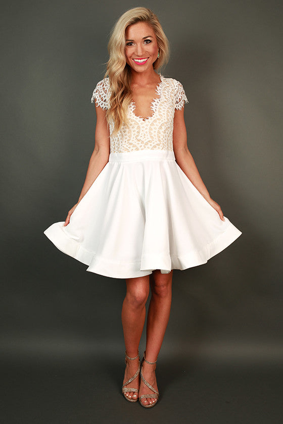 Bat Your Lashes Fit & Flare Dress in White