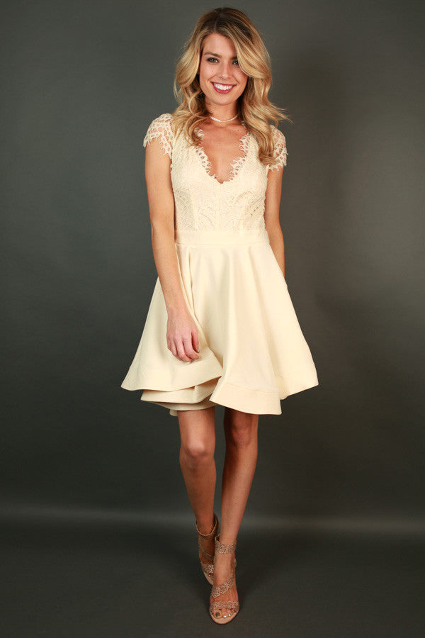 Bat Your Lashes Fit & Flare Dress in Champagne