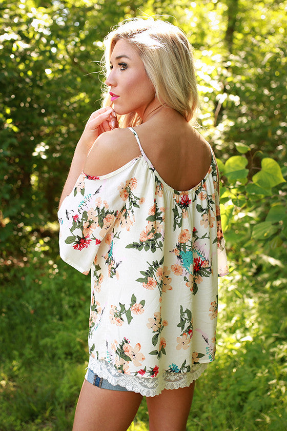 Get Fancy in Floral Cold Shoulder Top