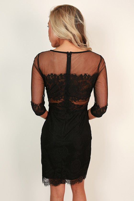 Vino at The Ritz Lace Mini Dress in Black