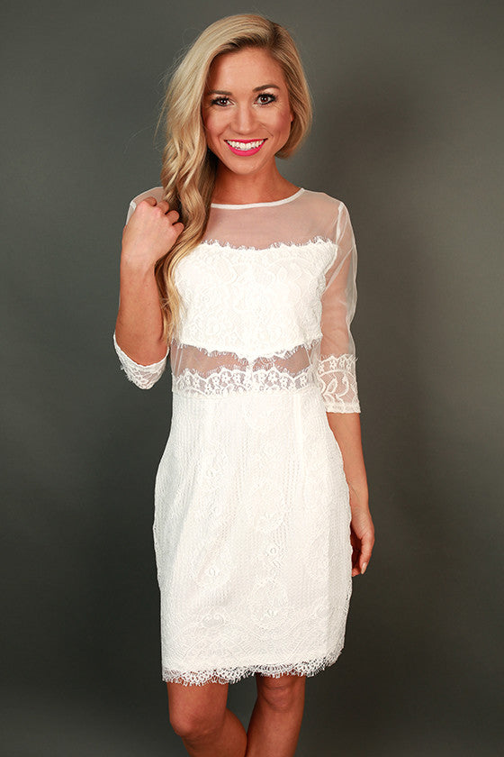 Vino at The Ritz Lace Mini Dress in White