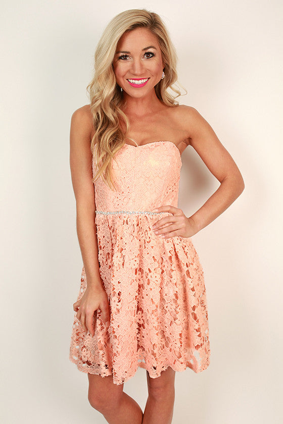 Prim & Pretty Crochet Dress in Peach Echo