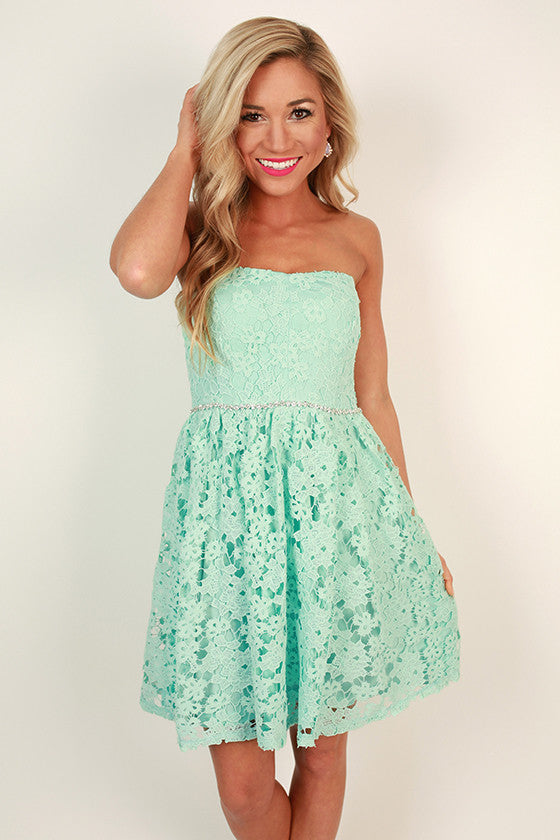 Prim & Pretty Crochet Dress in Mint