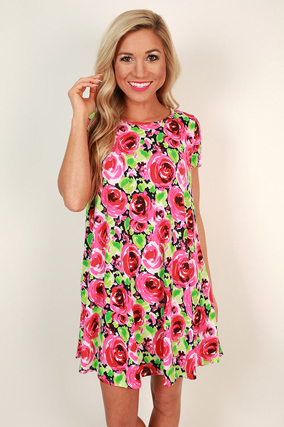 Rose Rendezvous Shift Dress