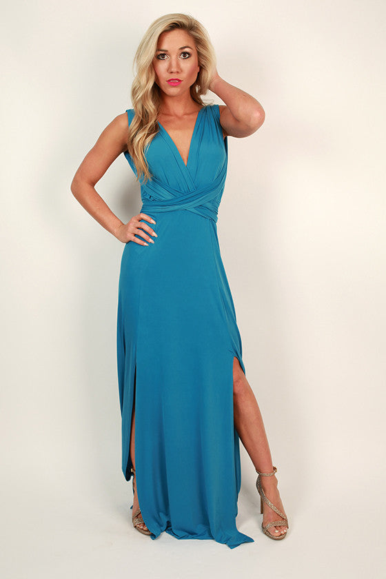 Sweet Serendipity Multi-Wear Maxi Dress in Ocean Blue