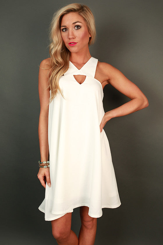 Dallas Date Night Shift Dress in White