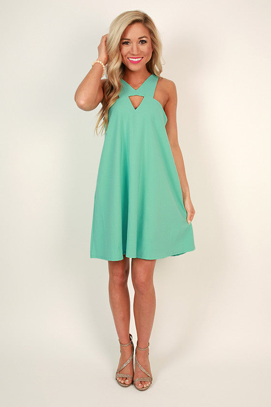 Dallas Date Night Shift Dress in Ocean Wave