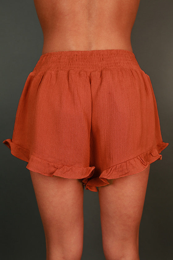 Ruffle Me Pretty Shorts in Pumpkin