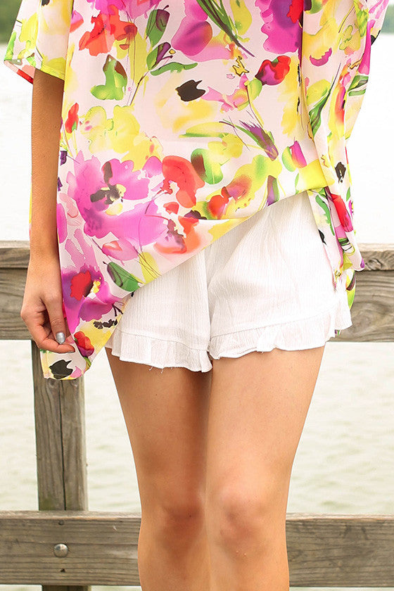 Ruffle Me Pretty Shorts in White