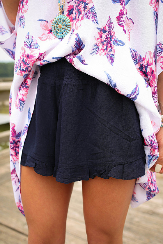 Ruffle Me Pretty Shorts in Navy