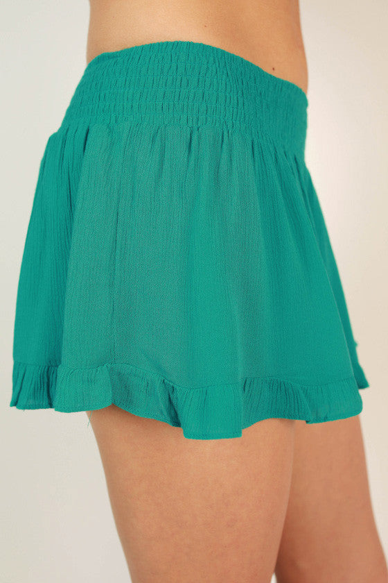 Ruffle Me Pretty Shorts in Turquoise