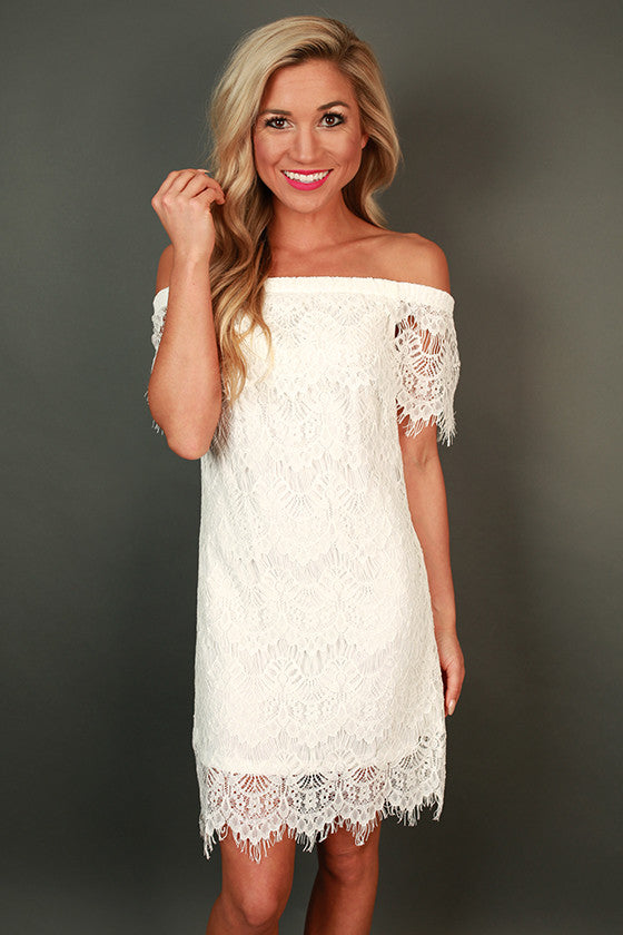 Socialite Chic Off Shoulder Lace Dress in White