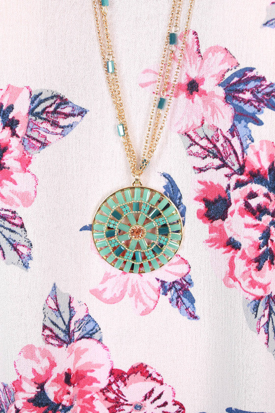 Burst Of Beauty Necklace in Aqua