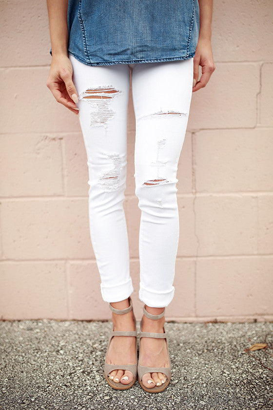 Seaside Distressed Skinny in Whitest White