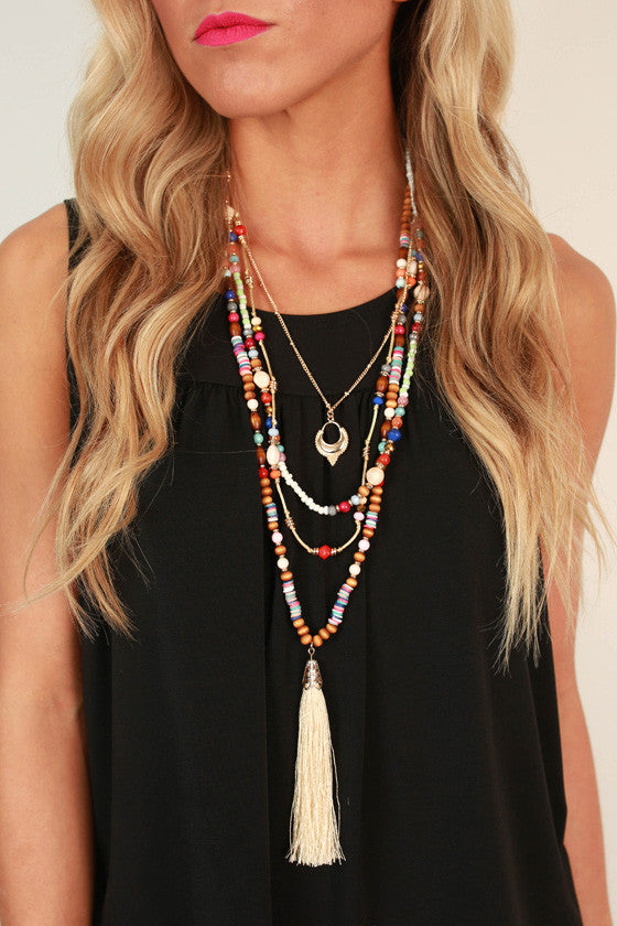 Trip To The Hamptons Tassel Necklaces in Ivory