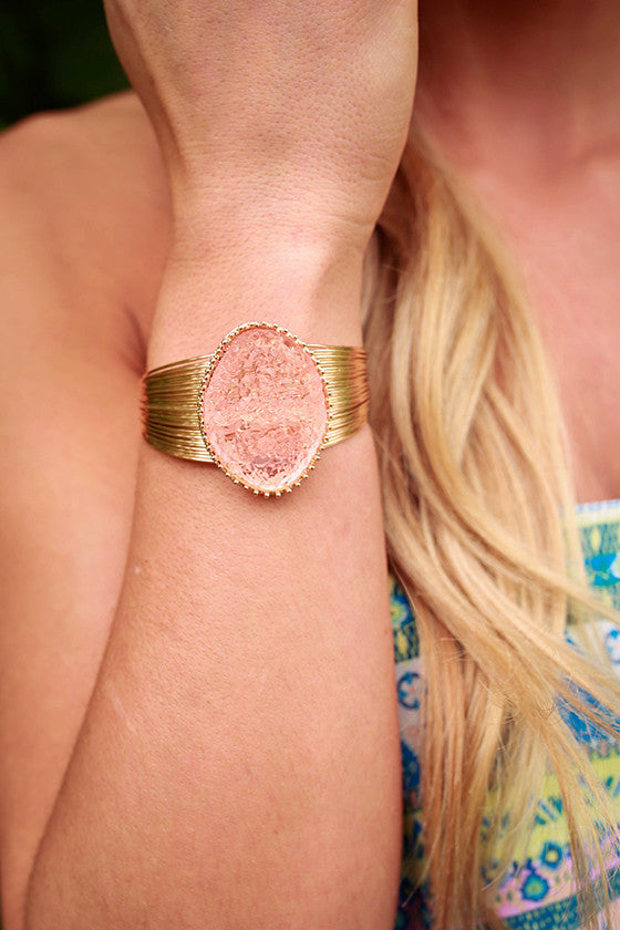 Divine Days Druzy Bracelet in Peach Echo