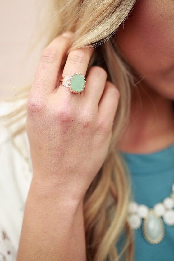 Darling Druzy Ring in Mint