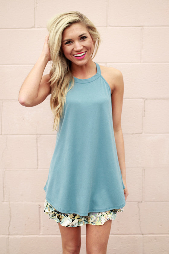 Fashion Week Shift Tank in Light Slate