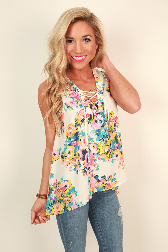 Cocktails & Floral Shift Tank